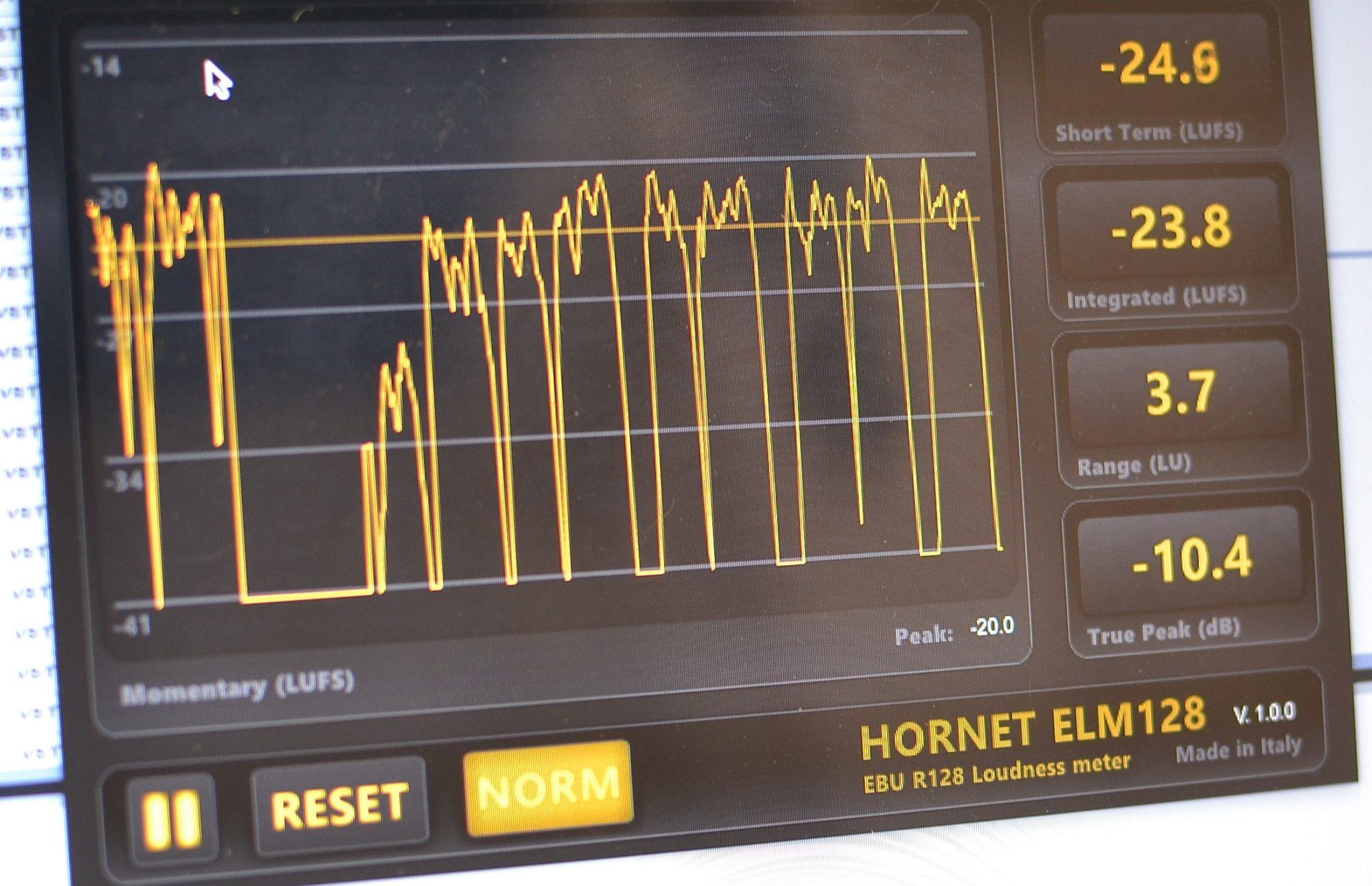 Mesures du loudness sur le plugin Hornet ELM 128
